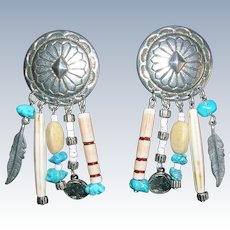 Southwestern Design Concho Charm Feather and Turquoise Earrings