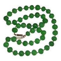 """Vintage Green Aventurine Bead Knotted Necklace 22"""""""