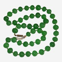 Vintage Green Aventurine Bead Knotted Necklace 22""