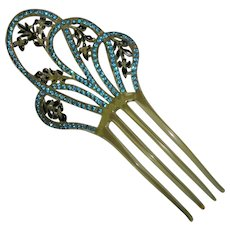 Aqua Rhinestone Celluloid Hair Comb