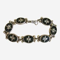 Vintage Hand Crafted Sterling Silver Onyx Inlay Bracelet Mexico