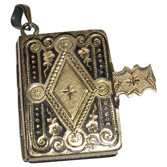Victorian Taille D'Epargne 14Kt Gold Filled Book Locket Charm