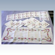 Vintage Linen Table Set-Micro Embroidered Florals