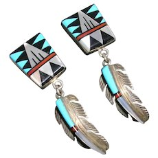 Southwestern Style Inlay Dangling Feather Earrings in Sterling Silver