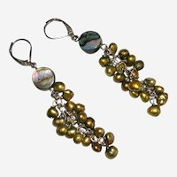 Gold and Green Freshwater Pearl and Abalone Earrings