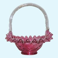 Fenton Cranberry Diamond Optic Ruffled Brides Basket