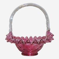 Fenton Cranberry Diamond Optic Ruffled Basket