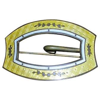 Victorian Cloisonne Enamel Buckle Pin