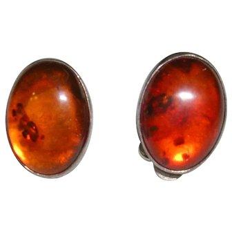 Vintage Sterling Silver Amber Clip Earrings