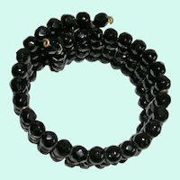 Black Faceted Glass Bead Memory Wire Bracelet