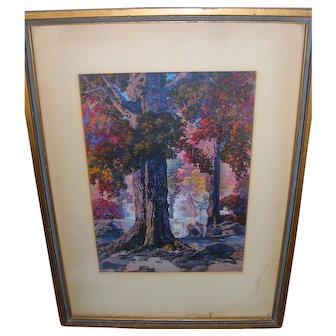 Art Deco Maxfield Parrish Golden Hours Framed Print 1927