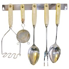 Retro Chrome Utensil Set Gold Flecked Dipped Handles