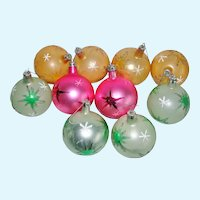 1960's Starburst Hand Blown & Painted Glass Christmas Ornaments
