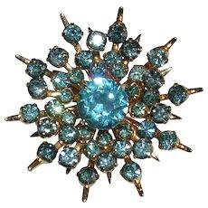 Vintage CORO Ice Blue Rhinestone Snowflake Brooch