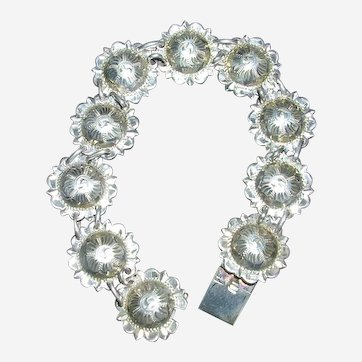 Sterling Silver Engraved Star Concho Bracelet