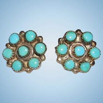 Tiny Zuni Turquoise Petti Point Button Earrings