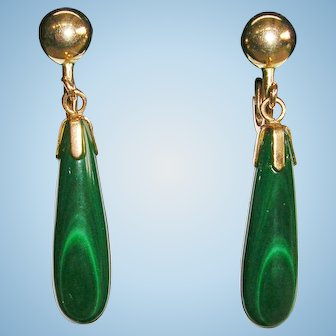 Green Malachite Elongated Drop Screw Back Earrings 12K GF