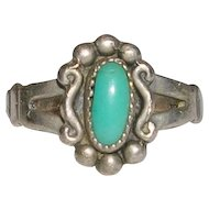 Petite Sterling Silver Turquoise Ring Bell Trading