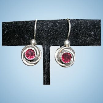 Sterling Silver and Rose Garnet Earrings