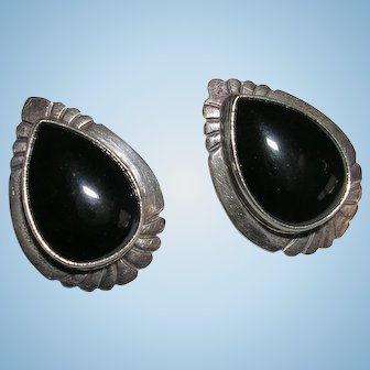 Navajo Nakai Sterling Silver and Onyx Earrings