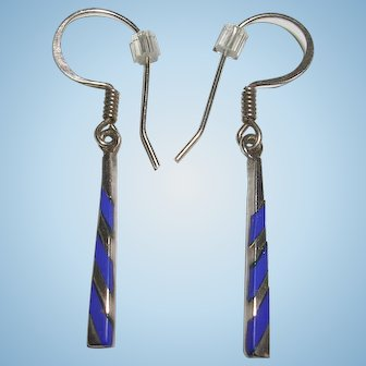 Thin Sterling Silver Lapis Inlay Earrings