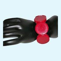 Fun Red Lucite Disc Stretch Bracelet