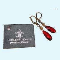 Designer Diana Acuesta Red Crystal and Sterling Earrings NOS