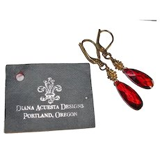 Designer Diana Acuesta Red Crystal and Sterling Earrings NOS
