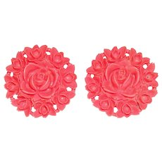 Salmon Pink Celluloid Rose Earrings