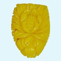 Beautifully Carved Opaque Celluloid Flower Dress Clip