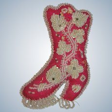 Antique Iroquois Beaded Wool Boot Whimsy