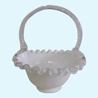 """Fenton Silver Crest White Bride's Basket 7"""""""