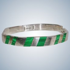Sterling Silver and Inlaid Malachite Hinged Bangle Bracelet
