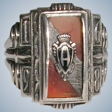 Ornate Balfour Sterling Silver Class Ring 1968
