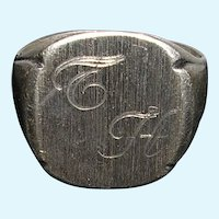 Sterling Silver Engraved Signet Ring TH