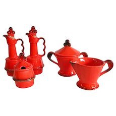 Vibrant Orange Condiment Set Made in Spain