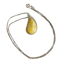 Attractive Egg Yolk Amber and Sterling Silver Necklace