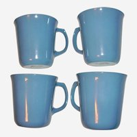 Pyrex Cornflower Blue Milk Glass Mugs Set of 4