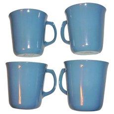 Pyrex Cornflower Blue Milk Glass Mugs Set of 4