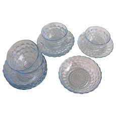 Fire King Sapphire Blue Bubble Luncheon Brunch Set of 4