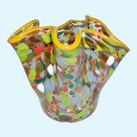 Hand Blown Art Glass Confetti Folded Vase Signed