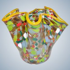 Hand Blown Art Glass Confetti Folded Vase Signed