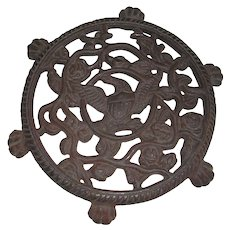 Antique 6 Footed Cast Iron Eagle and Roses Design Trivet