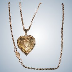 Victorian Repousse Heart Locket and Chain