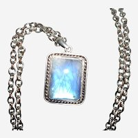 Mesmerizing Blue Moonstone Pendant Necklace