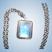 Mesmerizing Blue Moonstone Pendant Necklace