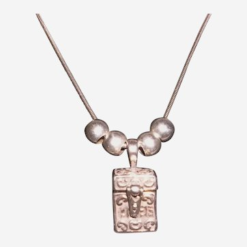 Sterling Faith Love Hope Prayer Box Necklace