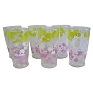 Mid Century Bubble Decorated Tumblers Set of 6