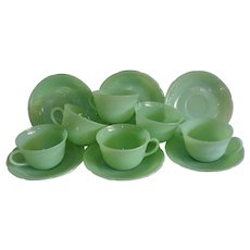 Fire King Jadeite Alice Cups & Saucers Set of 6