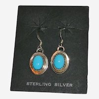 Petite Sterling Silver Oval Turquoise Earrings Signed
